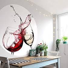 fototapete vliestapete rund weingläser fotografie rotwein weißwein getränk anstoßen weinspritzer küche esszimmer inkl schablone ø188 cm