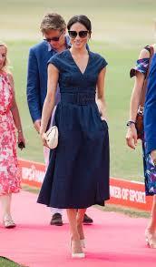 Meghan Markle In Denim Carolina Herrera Dress With Prince Harry At