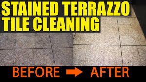 Cleaning Terrazzo Floors With Vinegar by Stained Terrazzo Tiles Cleaned At A Wigan Fish And Chip Shop Youtube
