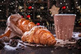 Christmas Or New Year PastriesCroissant With A Warming DrinkcoffeeWinter Holidays