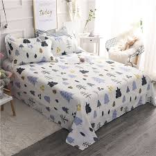 Cartoon Cute Colorful Christmas Tree Pattern 3Pcs 100 Cotton Bed Sheets King Queen Size