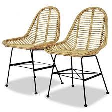 vidaxl 2x esszimmerstuhl rattan natur küchenstuhl essstuhl stuhl stuhlgruppe
