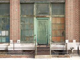 Green Door & Cast Iron Stairs At The White Cross Bakery S…