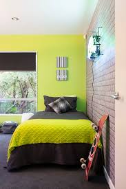 The Final Reveal Zingy Lime Green Wall Teamed With Cool Exposed Brick Wallpaper And Charcoal