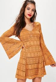 orange lace flare sleeve dress missguided