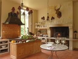 Kitchen With Fireplace Deer Head