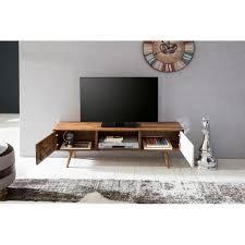 wohnling tv lowboard repa 140 cm massiv holz sheesham landhaus 2 türen fach hifi regal braun weiß 4 füße fernseher kommode vintage