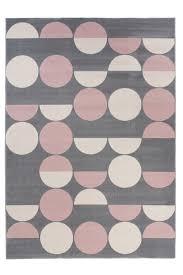 canvas teppich wohnzimmer kurzflor modern punkte design grau creme rosa jugendzimmer schlafzimmer ökotex