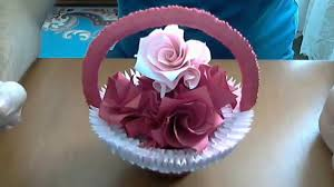 How To Make 3d Origami Basket With Flowers Model2