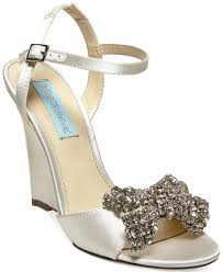 betsey johnson blue by dress wedge evening sandals in white lyst