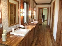 Sweet Teak Flooring In Bathroom Near Wooden Vanity With Two Sinks Under Small