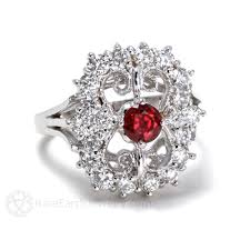 deco ruby and ring vintage ruby ring deco style with diamonds earth jewelry