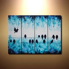 Large Abstract Art Bird On A Wire Painting 24x32 Tetraptych Multiple Canvas Fluid Acrylic