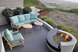 Painted Concrete Patio With Outdoor Fire Pit