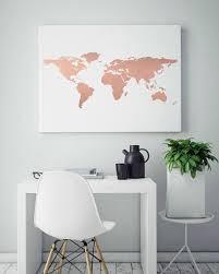 Rose Gold Foil World Map Print Real Genuine Art Abstract Wall