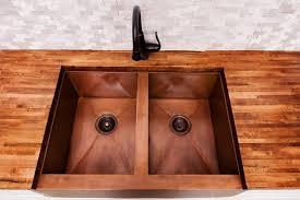 kitchen double bowl copper farmhouse sink 14 inch copper vessel