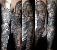 Gentleman With Mayan Themed Tattoo Full Sleeve Design