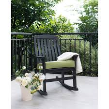 Better Homes and Gardens Delahey Wood Porch Rocking Chair Black
