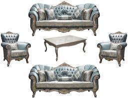 casa padrino luxus barock wohnzimmer set türkis antik silber 2 sofas 2 sessel 1 couchtisch möbel im barockstil edel prunkvoll