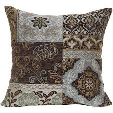 better homes and gardens blue and brown floral decorative pillow
