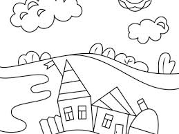 Village Scene Coloring Page Free Printable Pages