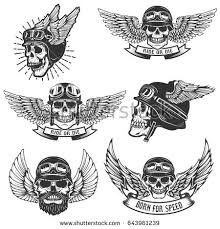 Set Of Skulls In Winged Motorcycle Helmets Design Elements For Logo Label Emblem