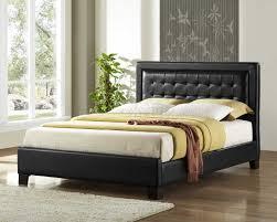 King Platform Bed With Leather Headboard by Landon Black Bi Cast Platform Bed W Tufted Headboard