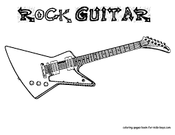 Guitar Coloring Page Grand Guitars Free Electric Pictures