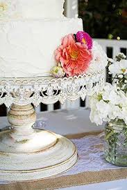 16 Round Rustic Metal Cake Stand Gorgeous Distressed White Wedding