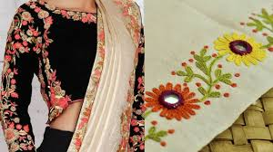 Hand Embroidery Border Designs For Sarees Stitches Flowers