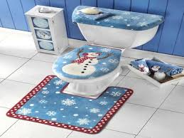 Red Bathroom Rug Set by Snowman Bathroom Toilet Seat Cover And Rug Set Youtube