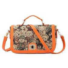 cute bear print shoulder messenger bag purse handbag satchel