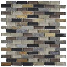 Home Depot Wall Tile Sheets by Merola Tile Tessera Subway Stonehenge 11 3 4 In X 11 3 4 In X 8