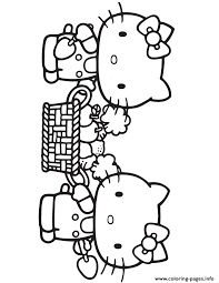 Hello Kitty Carrying Fruit Basket Coloring Pages