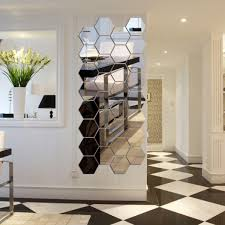 72Pcs 3D Mirror Hexagon Vinyl Removable Wall Sticker Art DIY Decal Home Decor