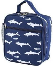 MM Shark Monogram Lunchbox Personalized Girls Blue Kids School