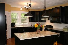Kitchen Black Cabinet Set And Island Design With Bright Marble Countertop For Elegant