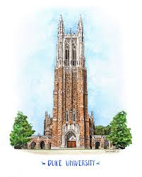 100 Crocket Architecture Duke University Watercolor Print Duke Chapel Wall Art Blue Etsy