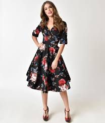 Unique Vintage 1950s Black Red Floral Delores Swing Dress With Sleeves