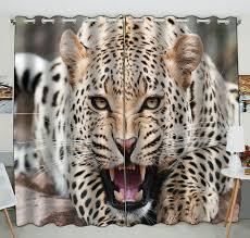 eczjnt tiere leopard fenstervorhang vorhänge paneele behandlung für wohnzimmer schlafzimmer kinderzimmer 130x210 cm zwei paneele