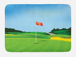 badematte plüsch badezimmer dekor matte mit rutschfester rückseite abakuhaus golf abschlagen boden mit einem loch flagge kaufen otto