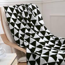 plaid noir canapé plaid pour sofa en tricot couverture jeté de canapé lit léger motif