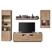 ideal möbel wohnwand kombination 52 bestehend aus vitrine wandregal lowboard und hängevitrine
