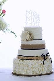 Rustic Wedding Cake Burlap And Navy
