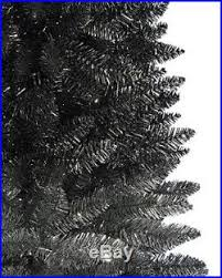 9 OMBRE BLACK SILVER Slim Christmas Tree UNLIT With STAND