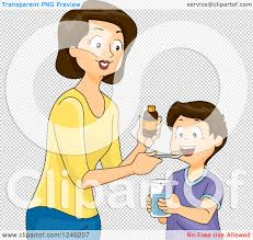 Boy taking medicine clipart
