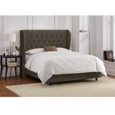 skyline furniture velvet pewter tufted wingback bed free