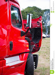 Modern Red Semi Truck With Open Hood On Parking Lot Stock Photo ...