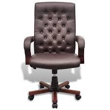 chaise de bureau chesterfield de bureau chesterfield en cuir artificiel marron