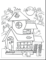 Haunted House Coloring Pages Online Printable Brilliant Full To Print Size